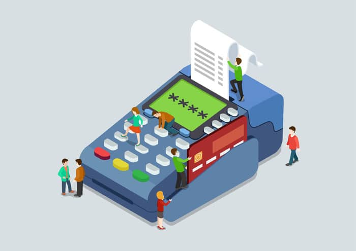 Credit card pin code payment terminal concept flat 3d web isometric infographic vector. Micro people pressing buttons scanning card, sales slip cheque. Creative people collection.