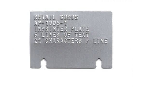 Embossed Merchant Plate for Addressograph Bartizan 4850 and 4000 Flatbed Imprinters